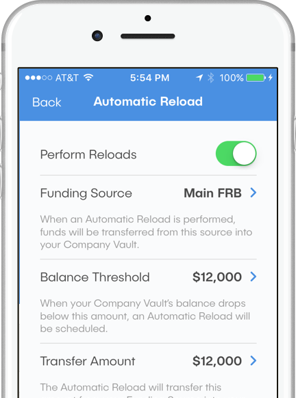 "Image of dash™ mobile app, viewing the Automatic Reload screen. A toggle switch labeled ""Perform Reloads"" and settings for Funding Source and Balance Threshold are all visible."