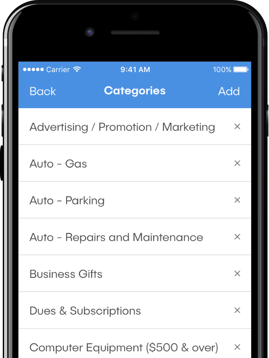 Image of dash™ mobile app, viewing the category editing screen.
