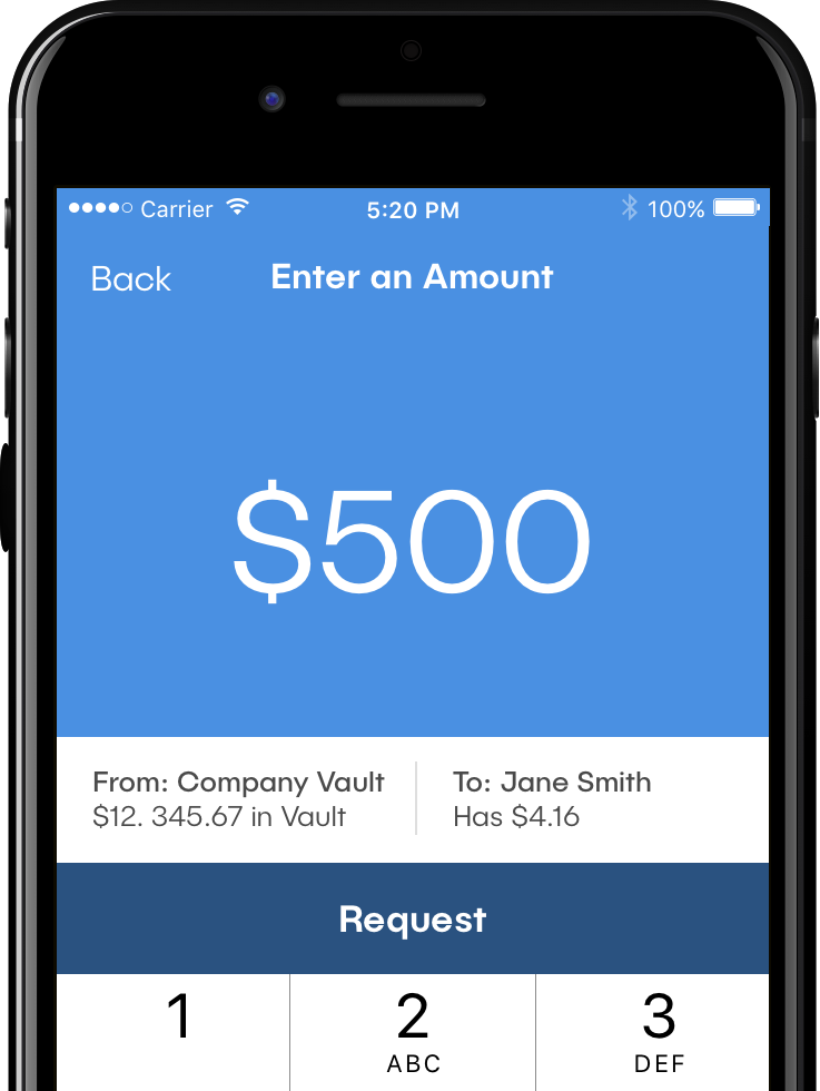 "Image of phone running the dash™ app. Screen reads: ""Enter an amount: $500"""