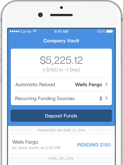 Image of phone running the dash™ app; screen shows the Company Vault screen with a balance of $5,225.12, Automatic Reload set to a Wells Fargo account, and a Deposit Funds button.