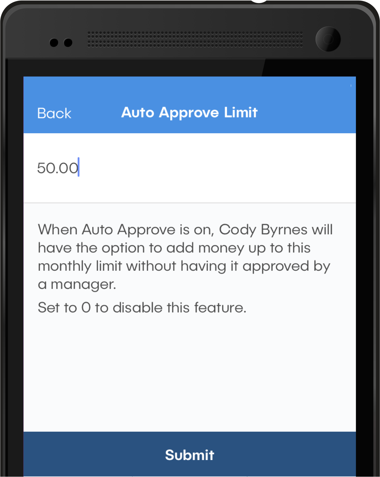 Image of phone running the dash™ app showing the Auto Approve Limit screen. The user has entered a limit of $50.