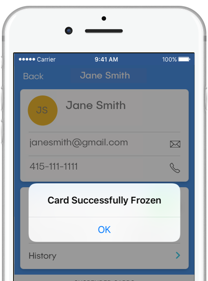 "Image of dash™ mobile app, viewing a member detail screen for Jane Smith. An app notification message reads ""Card Successfully Frozen."""